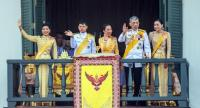His Majesty King Maha Vajiralongkorn grants an historic public audience from the main balcony of the Suddhaisavarya Prasad Hall of the Grand Palace in Bangkok yesterday. The King