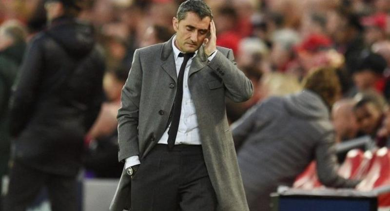 Barcelona's Spanish coach Ernesto Valverde looks on during the UEFA Champions league semi-final second leg football match.
