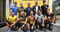 Organisers, back row, and runners, front row, of the Singha Obstacle Trail Series.