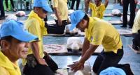 Yellow-shirted volunteers in blue caps and yellow scout scarves practice cardiopulmonary resuscitation (CPR) on dummies during a training session at Benchamatheputhit Phetchaburi School in Phetchaburi province last week.