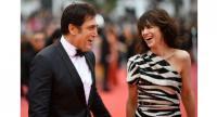 Spanish actor Javier Bardem, left, and French actress and singer Charlotte Gainsbourg pose as they arrive for the screening of the film