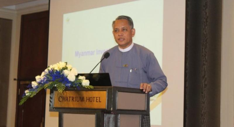 Aung Naing Oo, permanent secretary at the Ministry of Investment and Foreign Economic Relations, at a workshop on investment promotion in Lower Myanmar held in Yangon on May 16 (Photo- Khine Kyaw, The Nation)