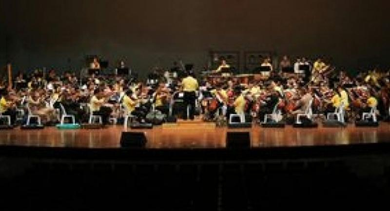 Musicians with the Ruamjaiphak Symphony Orchestra rehearse for the festival at the Thailand Cultural Centre.