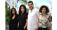 "Moroccan actress Nisrin Erradi, Moroccan film director Maryam Touzani, Moroccan producer Nabil Ayouch and Moroccan actress Lubna Azabal pose during the photocall for ""Adam"" at the Cannes Film Festival in Cannes."