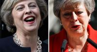A combo picture shows Britain's PM Theresa May (L) laughing on the first day she takes office in 2016 and she announcing her intention to resign on May 24.//AFP