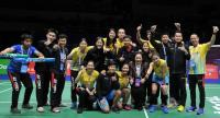 The Thai badminton team after the win over South Korea.