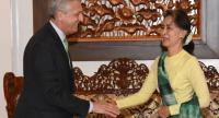 State Counsellor Aung San Suu Kyi receives Filippo Grandi, UN High Commissioner for Refugees (left), in Nay Pyi Taw on May 24 (Photo- Myanmar State Counsellor Office)