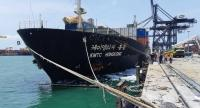 Contaminated chemicals float on the sea's surface after a chemical fire aboard South Korean ship KMTC Hongkong was brought under control at Chon Buri's Laem Chabang Seaport.