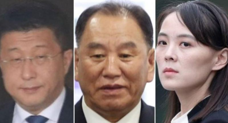 From left: Kim Hyok-chol, Kim Yong-chol and Kim Yo-jong (Yonhap)