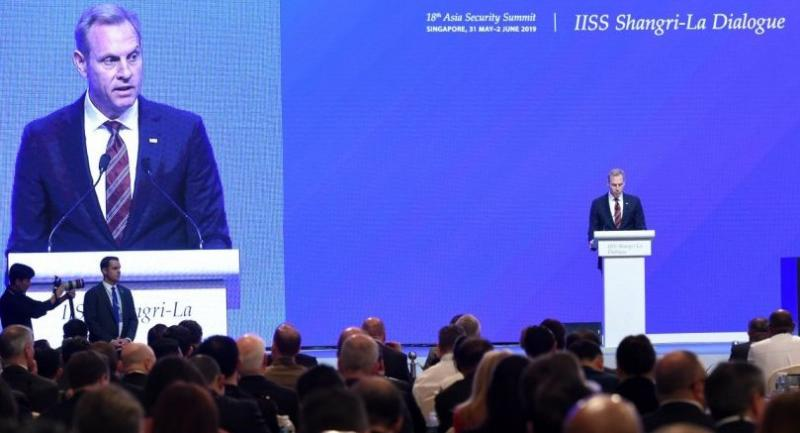 Acting US Secretary of Defense Patrick Shanahan speaks at the IISS Shangri-La Dialogue summit in Singapore on June 1, 2019. (Photo by ROSLAN RAHMAN / AFP)