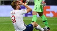 England's forward Harry Kane reacts after missing a goal opportunity during the UEFA Nations League semi-final football match between The Netherlands and England.