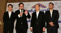 From left, Kobsak Pootrakool, Uttama Savanayana, Sontirat Sontijirawong and Nattapol Teepsuwan tell the press on Friday that the pro-junta bloc has yet to complete Cabinet portfolio deals.