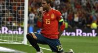 Spain's defender Sergio Ramos celebrates after scoring a penalty during the UEFA Euro 2020 group F qualifying football match between Spain and Sweden.