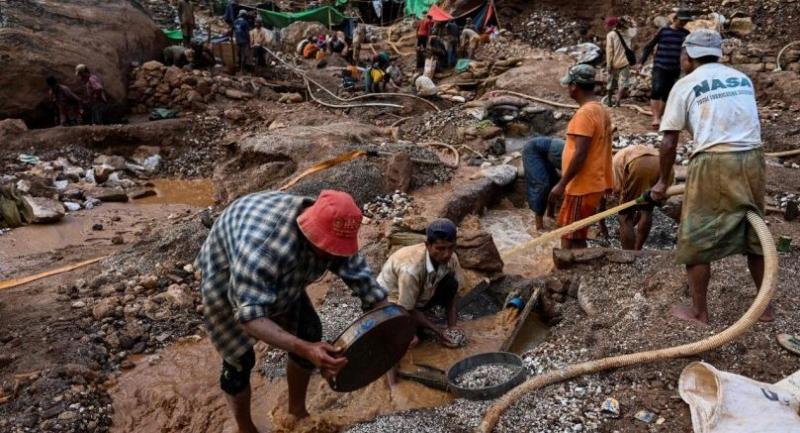 Environmental damaged mining in in Mogok, north of Mandalay.--(Photo by Ye Aung THU / AFP)