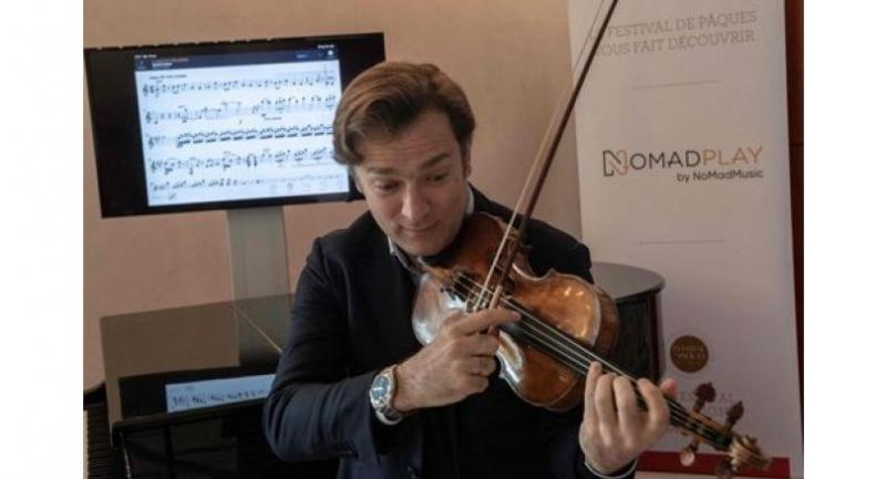 "French violinist Renaud Capucon practices with the new application ""NomadPlay"", created by the French startup Digital Music Solutions, which can replace virtually every orchestral musician."