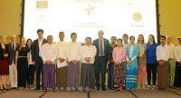 Speakers and participants at a group photo session at the event to mark the World Day Against Child Labour in Yangon (Photo courtesy of ILO)