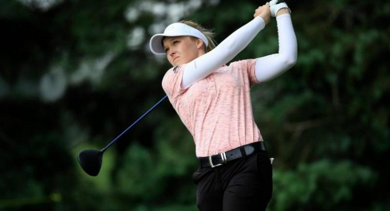 Brooke Henderson of Canada hits her tee shot on the second hole during the third round of the Meijer LPGA Classic. / Photo credit to LPGA