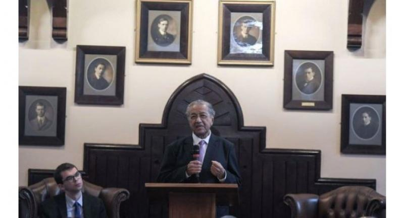 Dr Mahathir delivering his speech at Cambridge Union on Sunday.