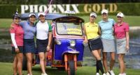 Stars aligned (from left): defending champion Kanyalak Preedasuttijit, Chonlada Chayanun, 2017 winner Atthaya Thitikul, South Korean Yoo Hyun Ju, world No 3 German Esther Henseleit of Germany and Swede Julia Engstrom pose with a Tuk Tuk in the tradit