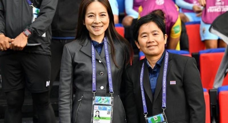 Thailand manager Nualphan Lamsam and coach Nuengrutai Srathongvian