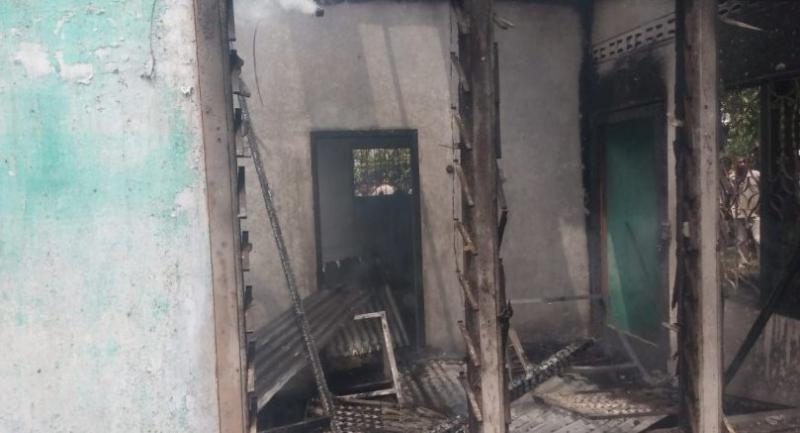 Part of gutted lighter factor in Binjai, Langkat regency, North Sumatra, on June 21, 2019. Thirty people, including three children, died in the fire. (JP/Apriadi Gunawan)