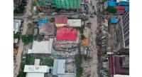 This aerial photo taken on June 22, 2019 shows a collapsed building at a construction site in Sihanoukville.//AFP