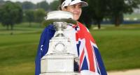 Hannah Green of Australia poses with the trophy after winning the KPMG PGA Championship. / LPGA Photo