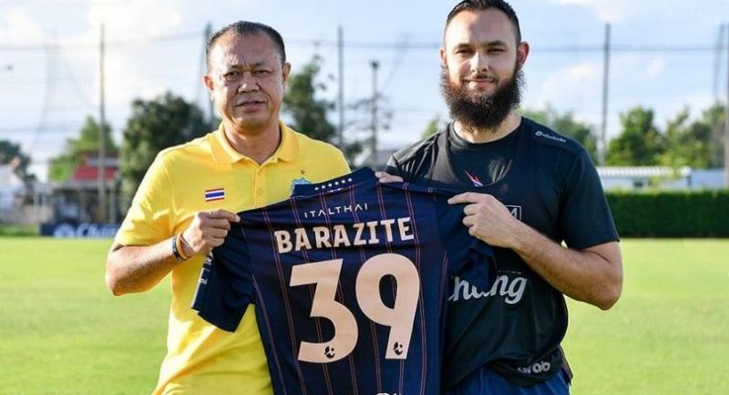 PIC Buriram United chairman Nawin Chidchob and Nacer Barazite