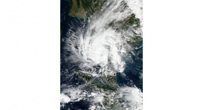 The sattleite image of Tropical Storm Pabuk over Gulf of Thailand.