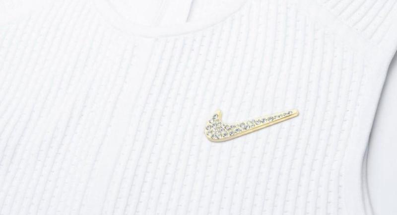 The Broosh', a brooch in the shape of the Nike logo made with Swarovski crystals, to be worn by Serena Williams in the Wimbledon Championships. (Nike/File)