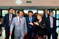 Hun Sen has returned from Geneva, where he gave speeches to the World Trade Organisation and the Office of the United Nations High Commissioner for Human Rights. 