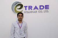 Phay Thwin Htun, business development manager at eTrade Myanmar Co, at his office in Yangon