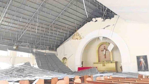 CEILING COLLAPSE The damaged St. Vincent Parish church in Carmen, Surigao del Sur —CONTESA PADON/CONTRIBUTOR
