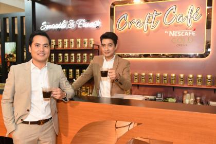 "Thanatorn Punpanishgul, left, senior marketing manager, Nescafe Gold, Nestle (Thai) Ltd, and Nescafe Gold brand ambassador Saharat ""Kong"" Sangkapreecha"