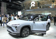 A Nio ES6 SUV is displayed at the Shanghai auto show in April. [Photo by Xing Yun/For China Daily]
