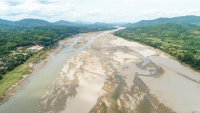 Dry Mekong River during wet season