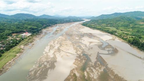 Dry Mekong River during wet season