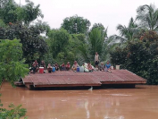 (File Photo) Victims from  Xe Pian-Xe Namnoy hydropower dam disaster in southern Laos one year ago. Photo by: The Nation
