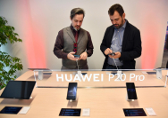 Huawei products are displayed during the opening of the company's new offices in Milan, northern Italy, earlier this year.[Provided to China Daily]