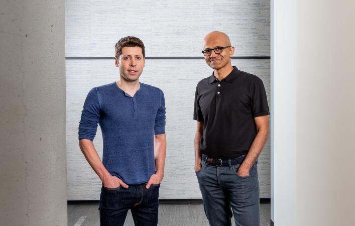 Sam Altman, left, of OpenAI with Microsoft's Satya Nadella,