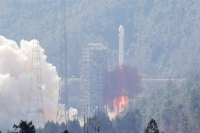China sends two satellites into orbit on a single carrier rocket for its domestic BeiDou Navigation Satellite System (BDS) in Xichang, Southwest China's Sichuan province, Feb 12, 2018. [Photo/Xinhua]