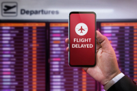 Information on a delayed flight on a smartphone screen. (Shutterstock/Black Salmon)