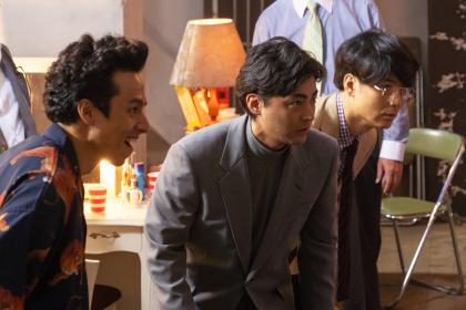 From left, Toshi (Shinnosuke Mitsushima), Toru Muranishi (Takayuki Yamada)  and Kawada (Tetsuji Tamayana) work as the team in producing an av movie in original Japanese Netflix series