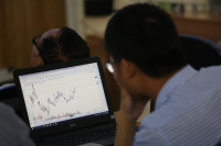 An investor looks at stock movements on his laptop. (Photo: Viet Nam News)