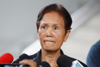 Jaroon Head, 62, tells reporters outside Ratchadapisek Court in Bangkok that she is relieved to have her name cleared of the false accusations filed against her. She was falsely  accused by a friend for embezzling a Bt30-million lottery windfall in 2017. The court sentenced the accuser to 12 months in prison on Wednesday.