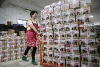 An employee loading cartons of bamboo shoots onto a truck for shipment at an e-commerce company in Hangzhou, Zhejiang province. (Photo by Hu Jianhuan/For China Daily)