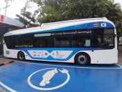 An electric bus, part of a pilot project between Korea and Thailand (Shin Ji-hye/The Korea Herald)