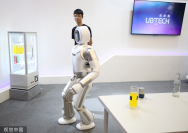 A humanoid robot called Walker, developed by Ubtech, is displayed at the World Robot Conference in Beijing on Tuesday. (Photo/VCG)