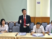 Truong Dinh Quy, deputy general director of taxi company Vinasun, speaks at a conference on transport activities in HCM City on Thursday. (Photo: VNS/Bo Xuan Hiep)