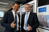 Axel Berkling, right, KONE's executive vice president/Asia-Pacific, and Anthony Tan, managing director of KONE Thailand